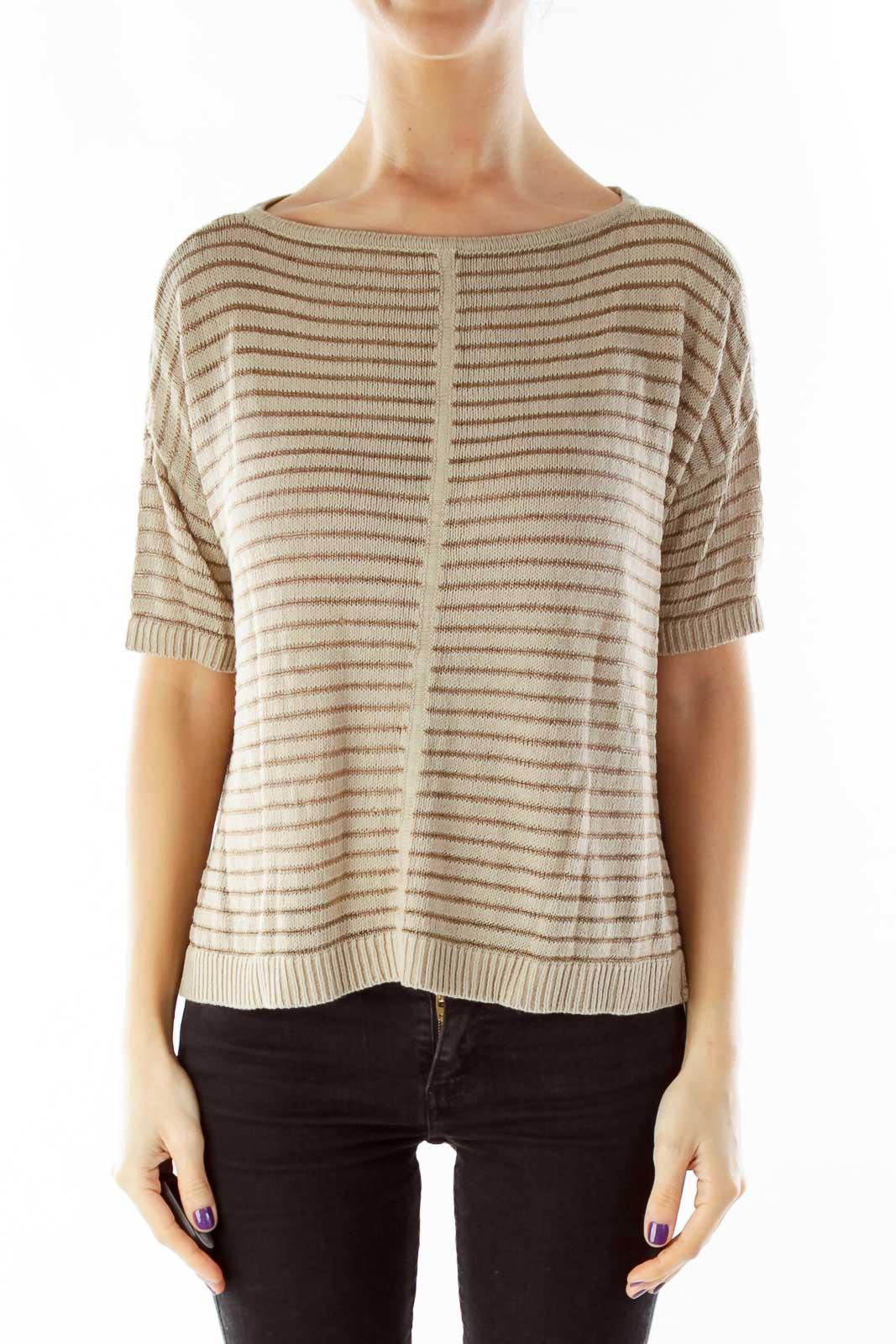 Brown Striped Knit Top
