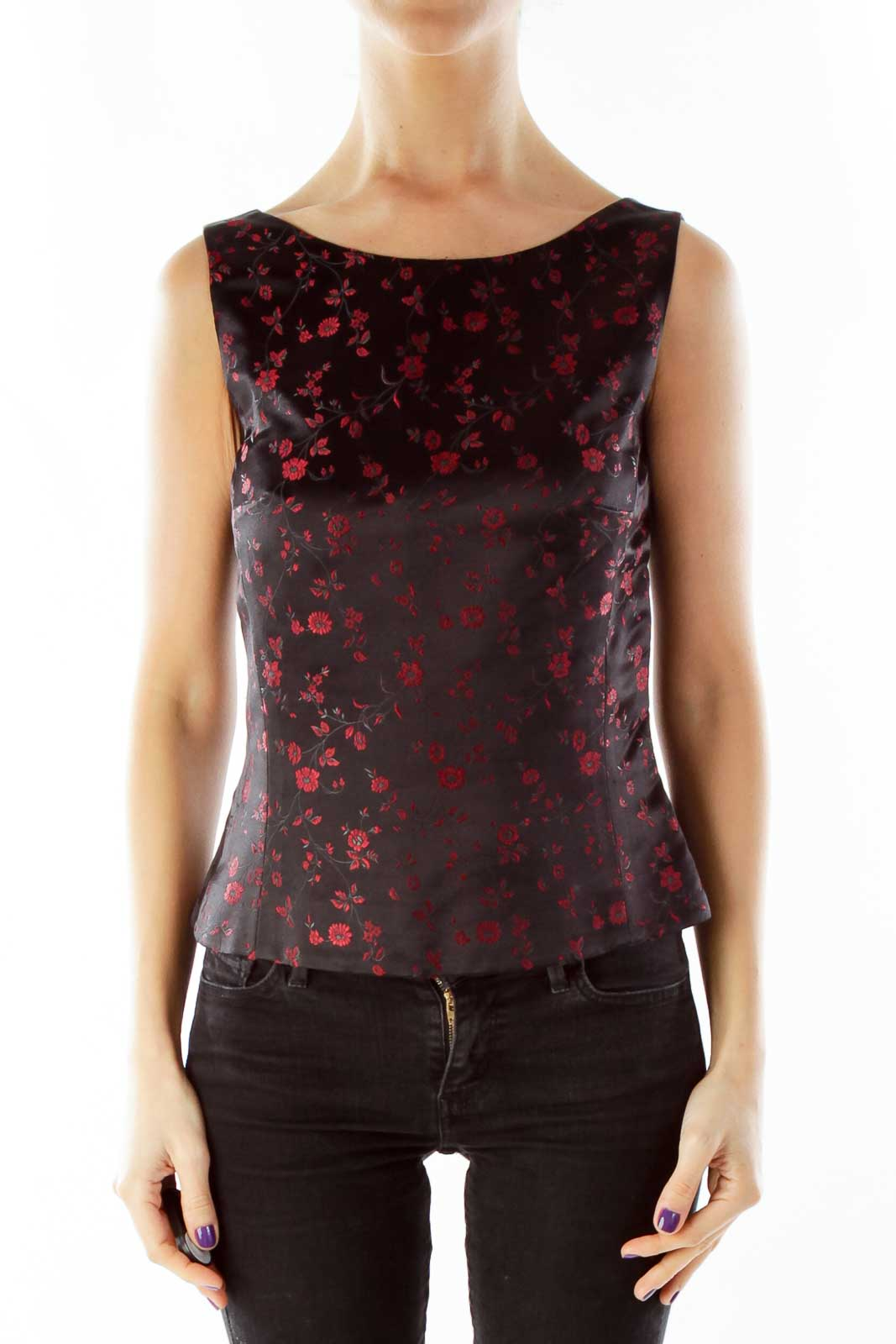Black Red Embroidered Flower Tank