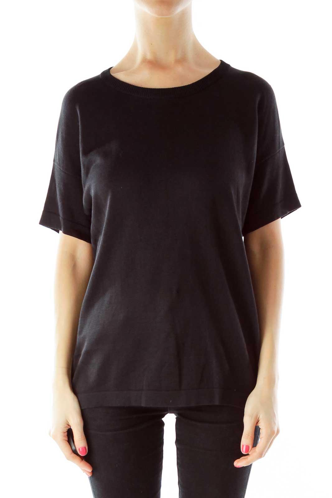 Black Round Neck Short Sleeve Knit
