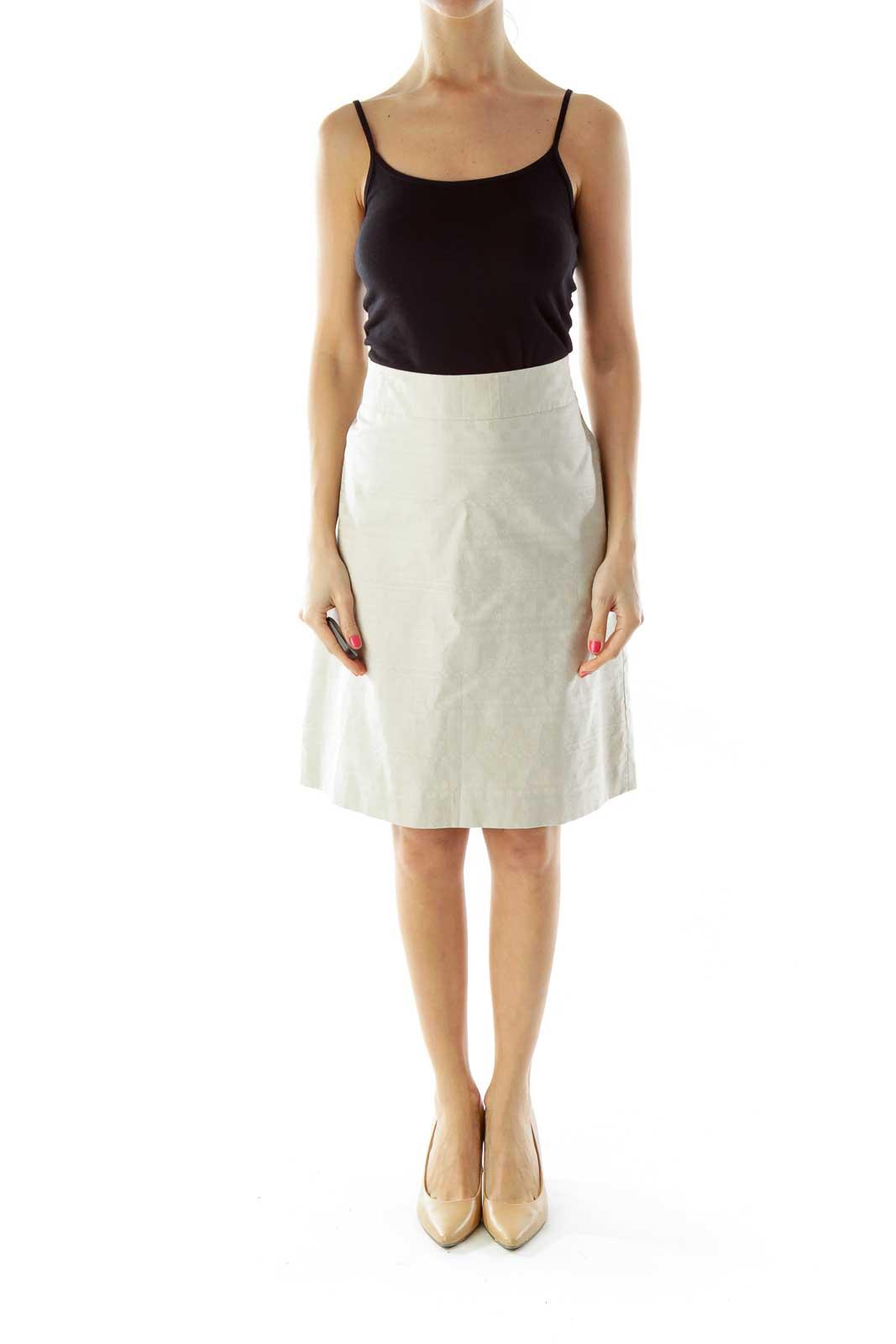 Beige Embossed Pencil Skirt