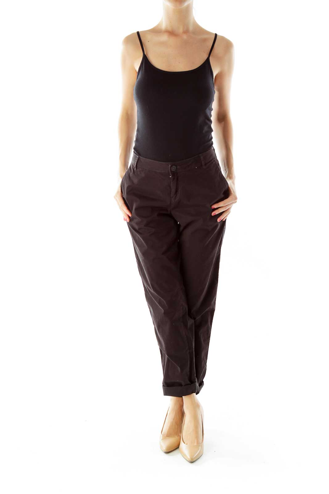 Black Tapered Cotton Pants