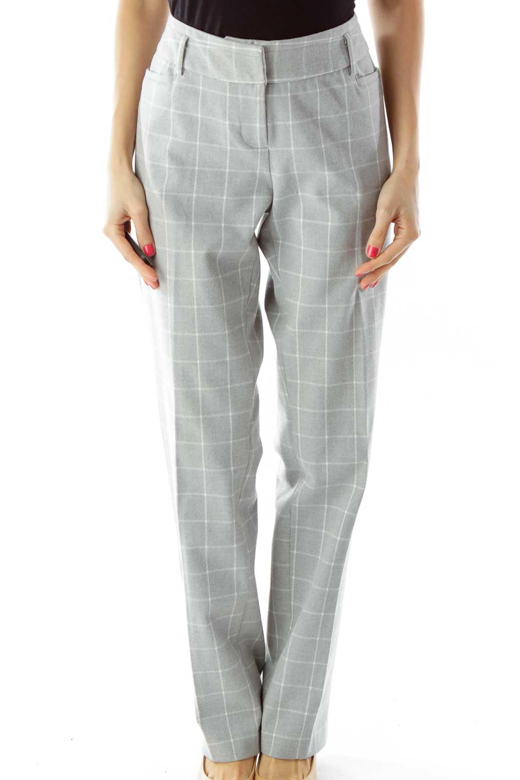 Gray White Checkered Slacks