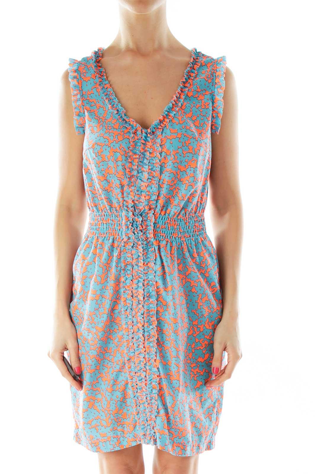 Blue Orange Scrunched V-Neck Day Dress