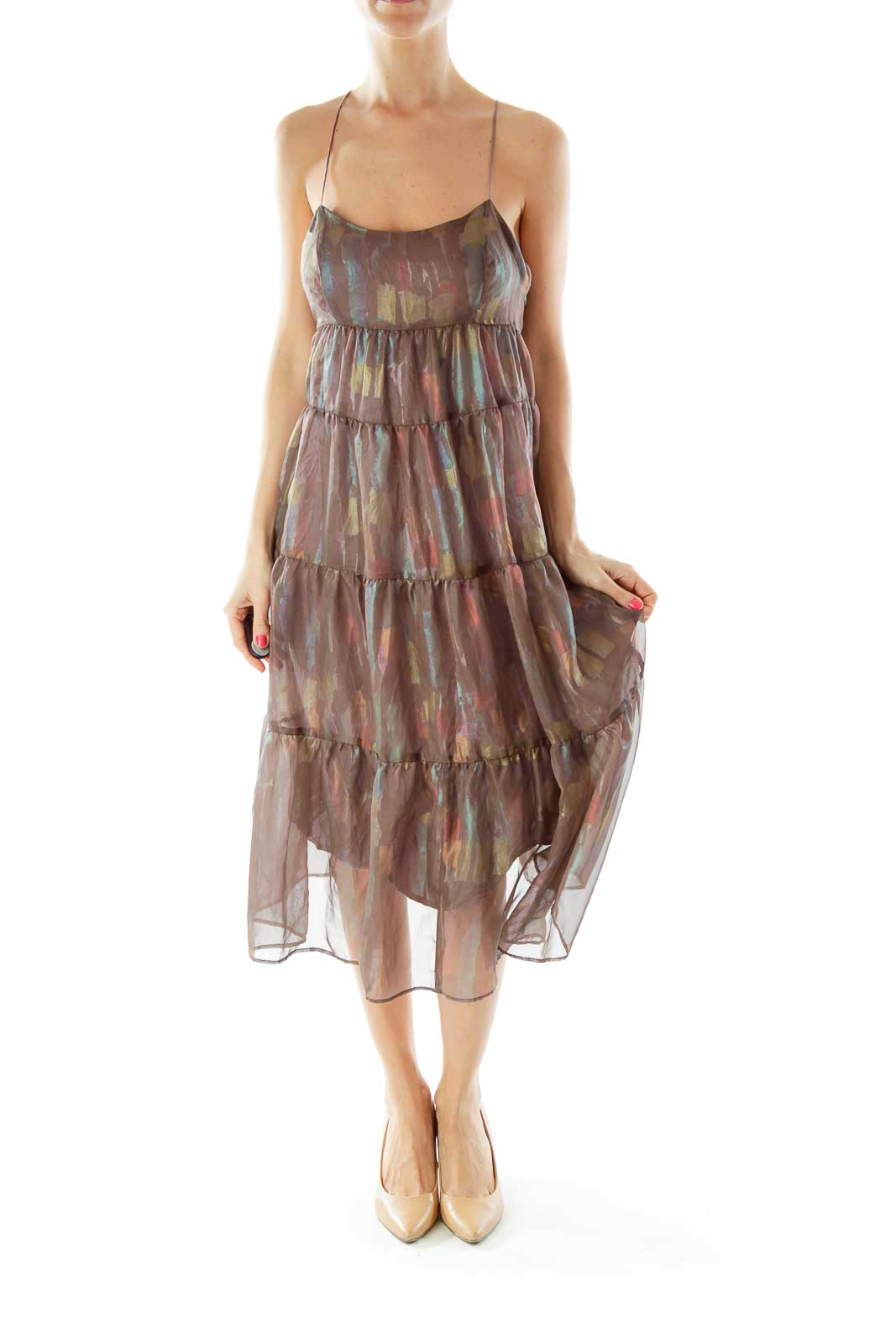 Brown Multicolor Sheer Layered Dress