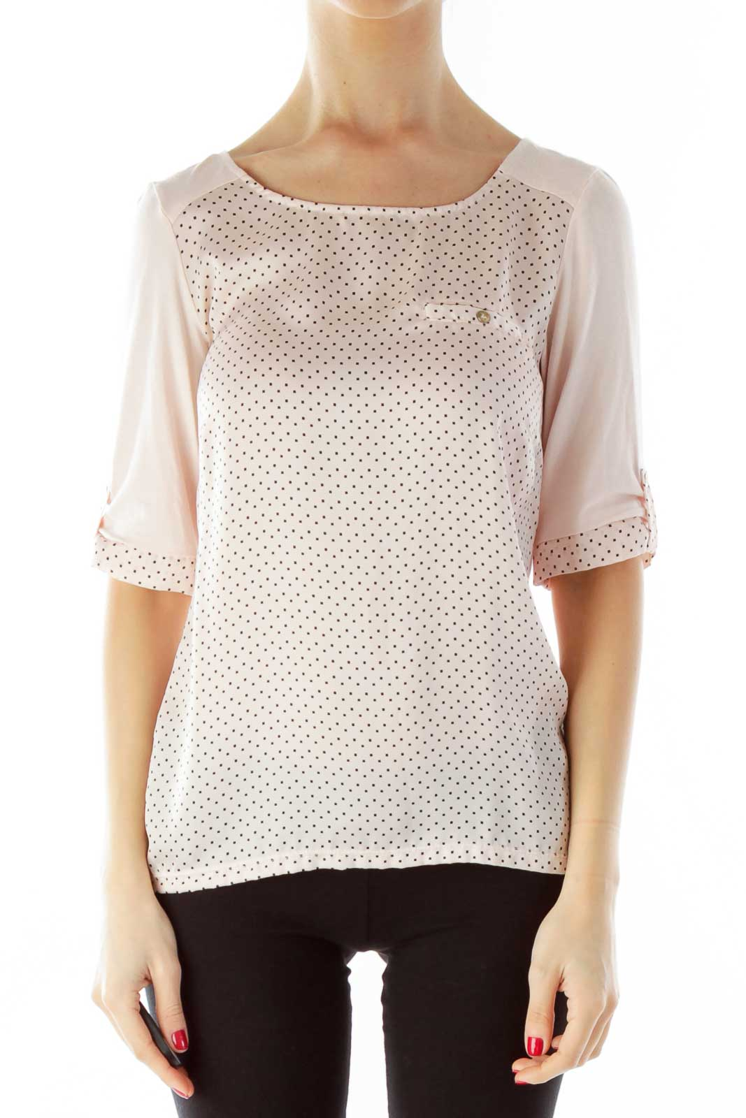 Pink Polka-Dot Round Neck Mid-Sleeve Blouse