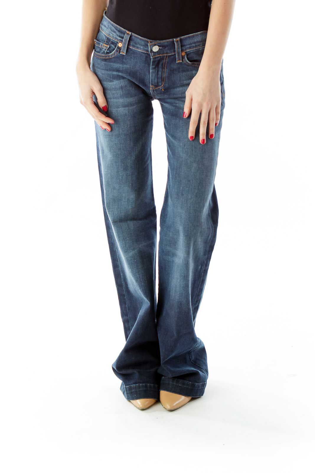 Blue Low Rise Flared Jeans