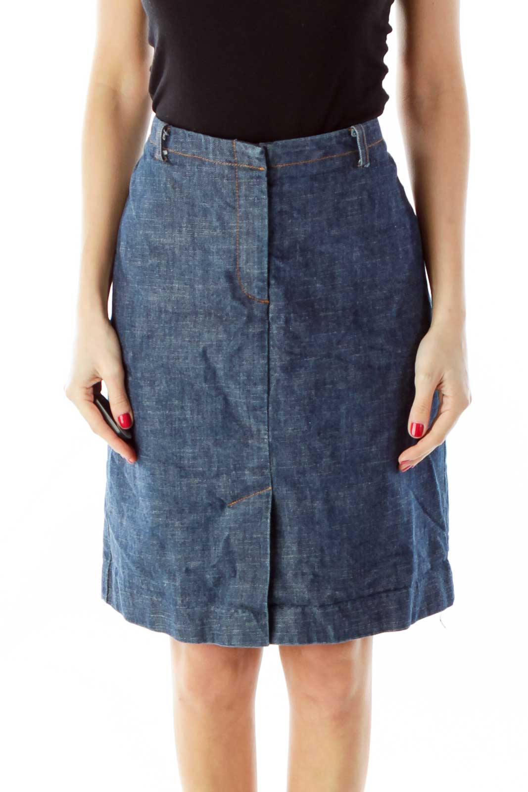 Blue A-Line Denim Skirt