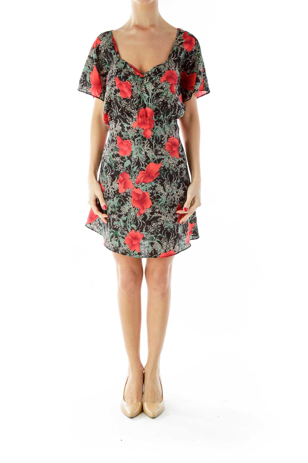 Black Red Flower Print Dress