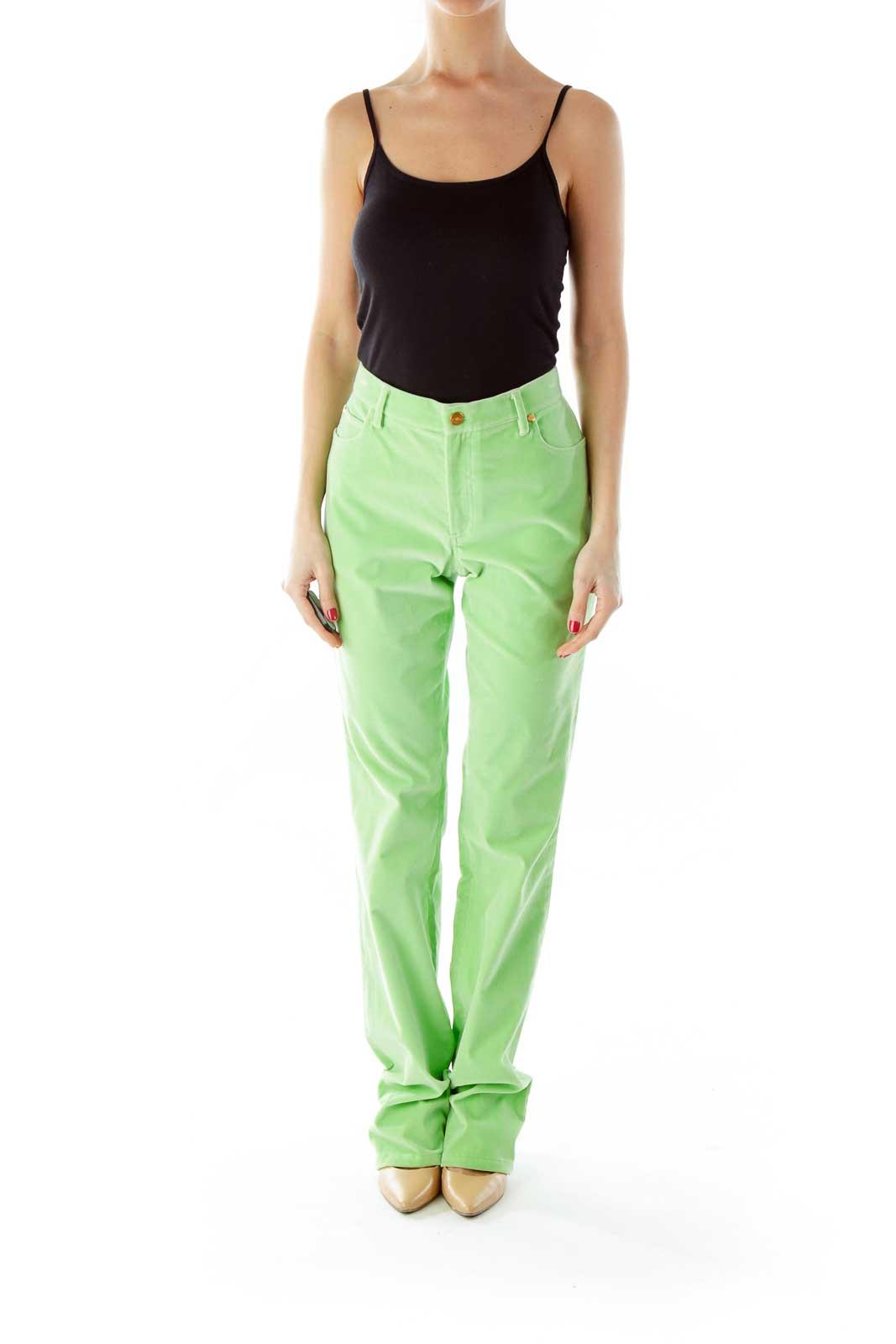 Green Velvet Straight-Leg Pants