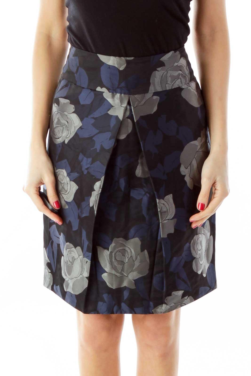 Navy Gray Black Pleated Pencil Skirt