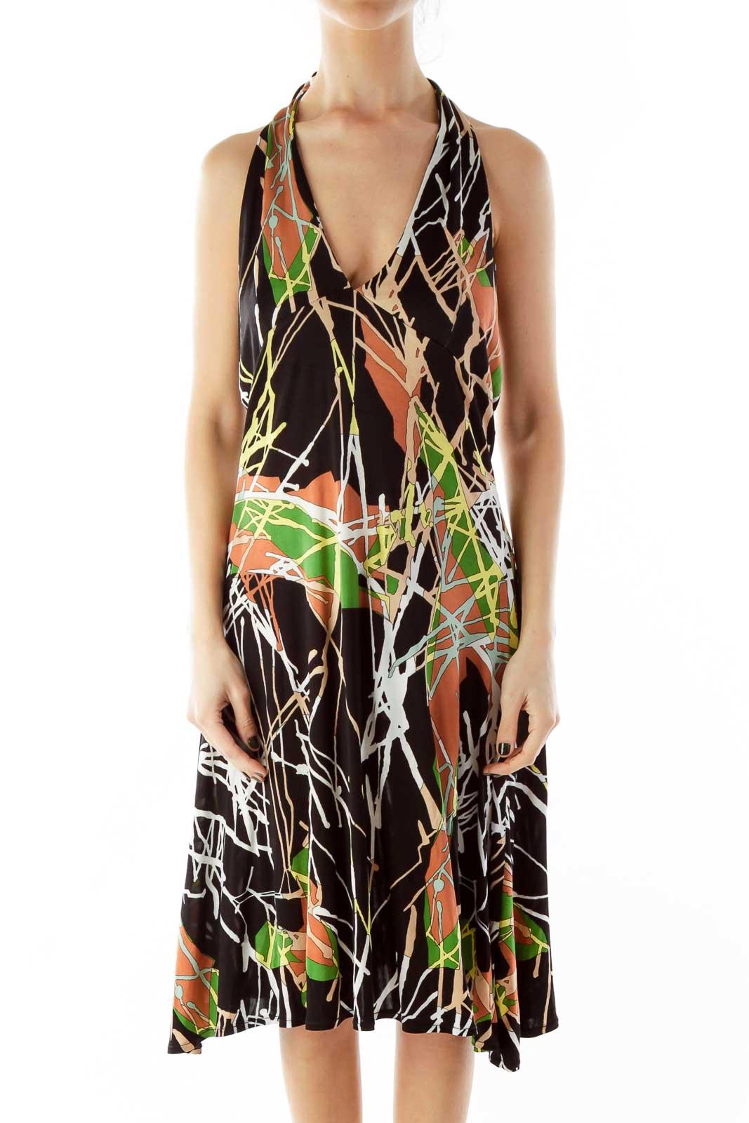 Multicolor Print Halter Dress