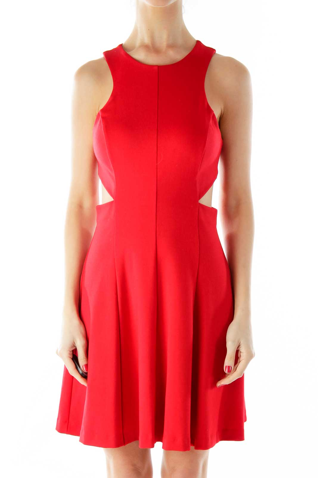 Red A-Line Cut-Out Dress