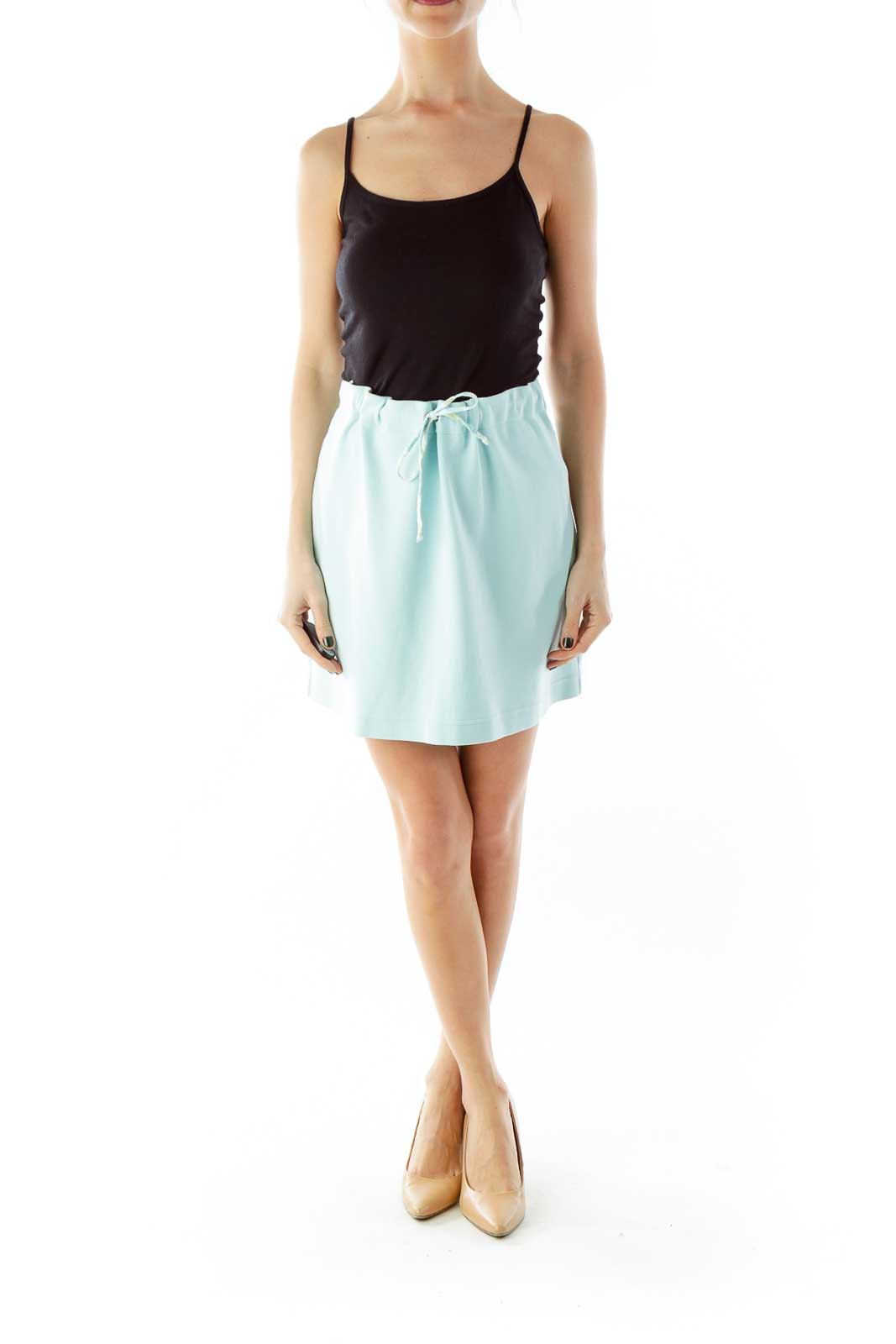 Mint Drawstring Elastic Mini Skirt