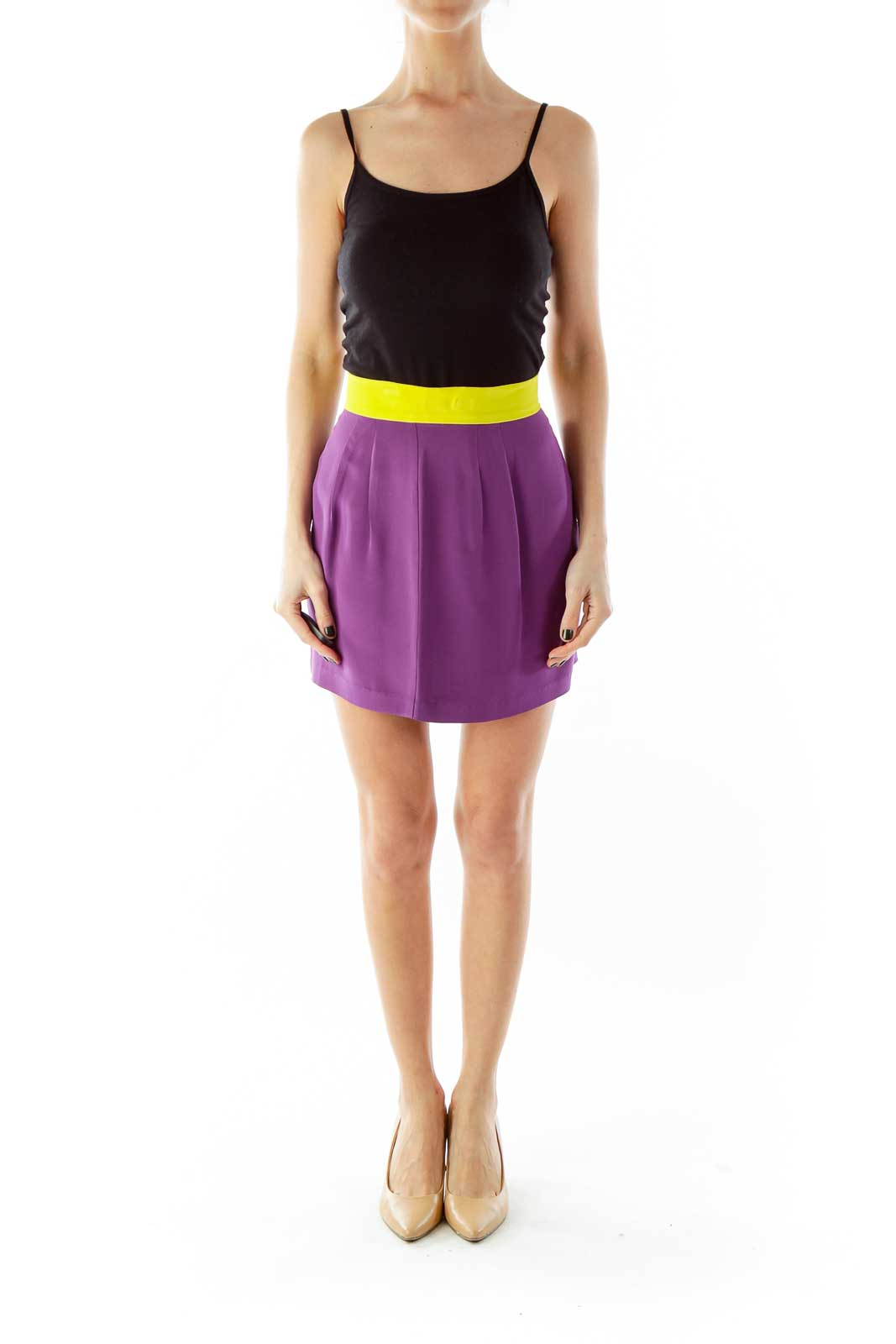 Purple Yellow Silk Mini Skirt