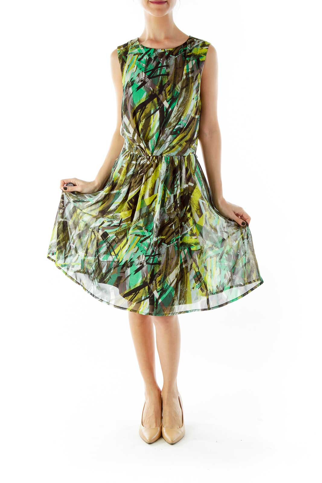 Multicolor Scrunched A-Line Dress
