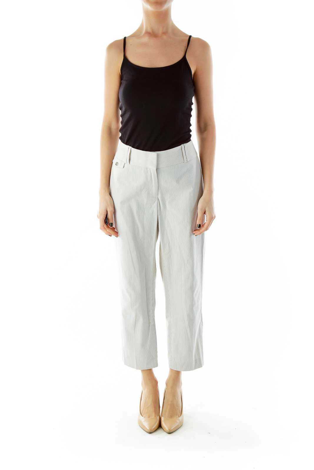 White Blue Stripped Cropped Pants