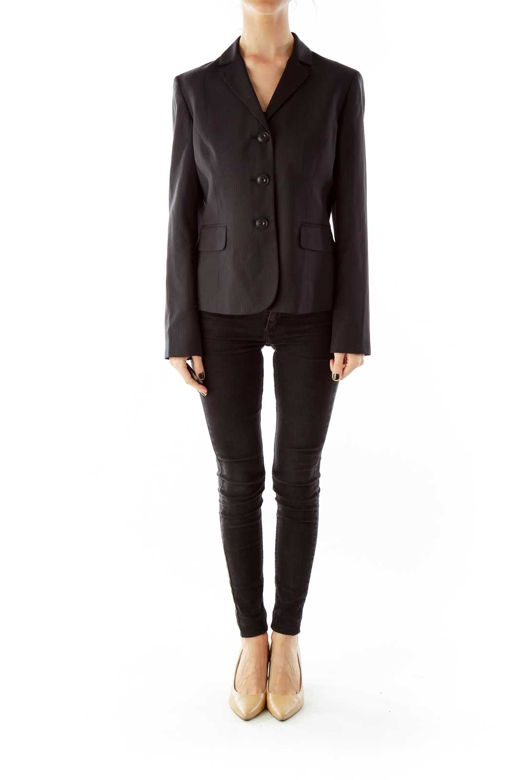 Black Stripped Single-Breasted Blazer
