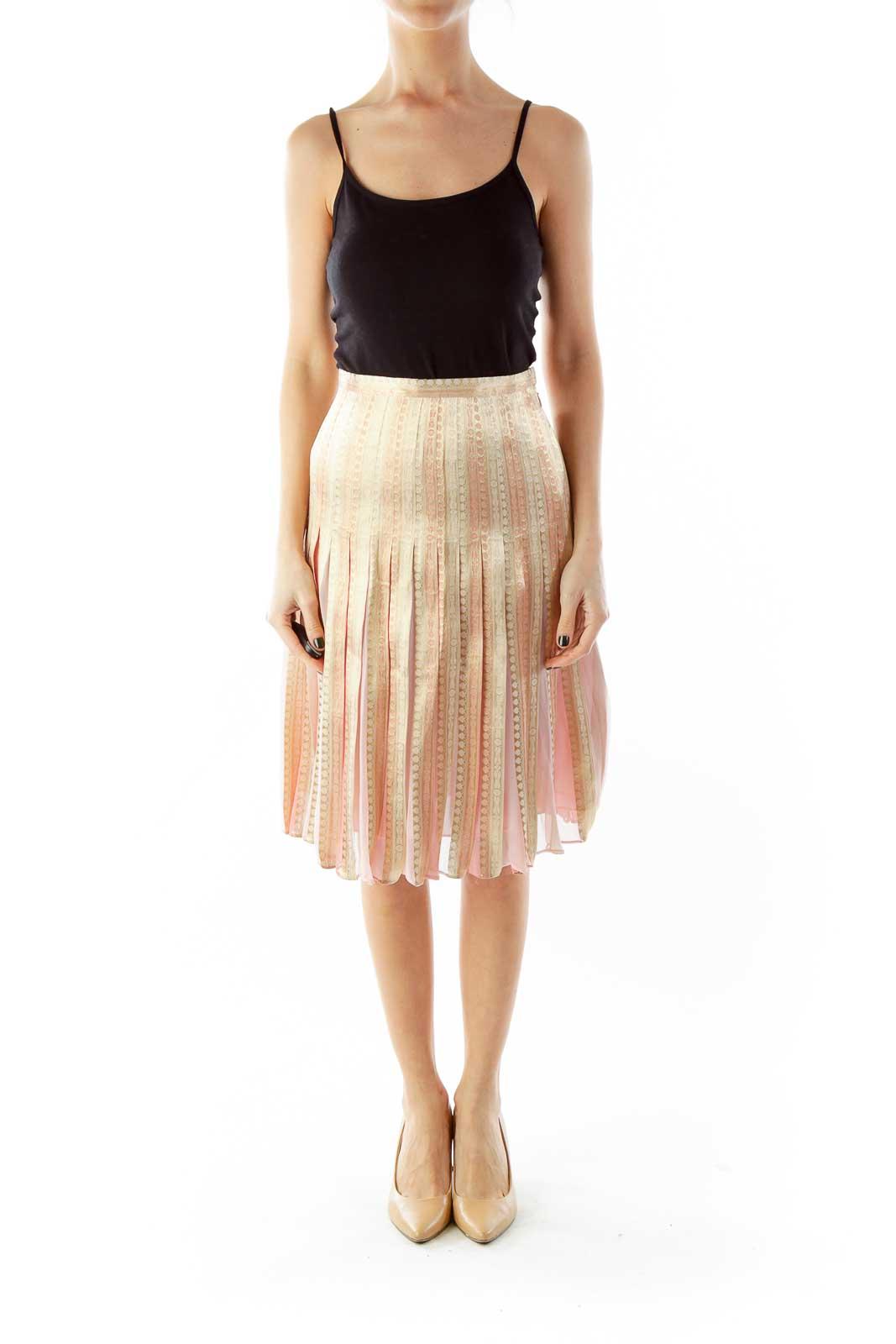 Pink Gold Shimmer Flared Skirt