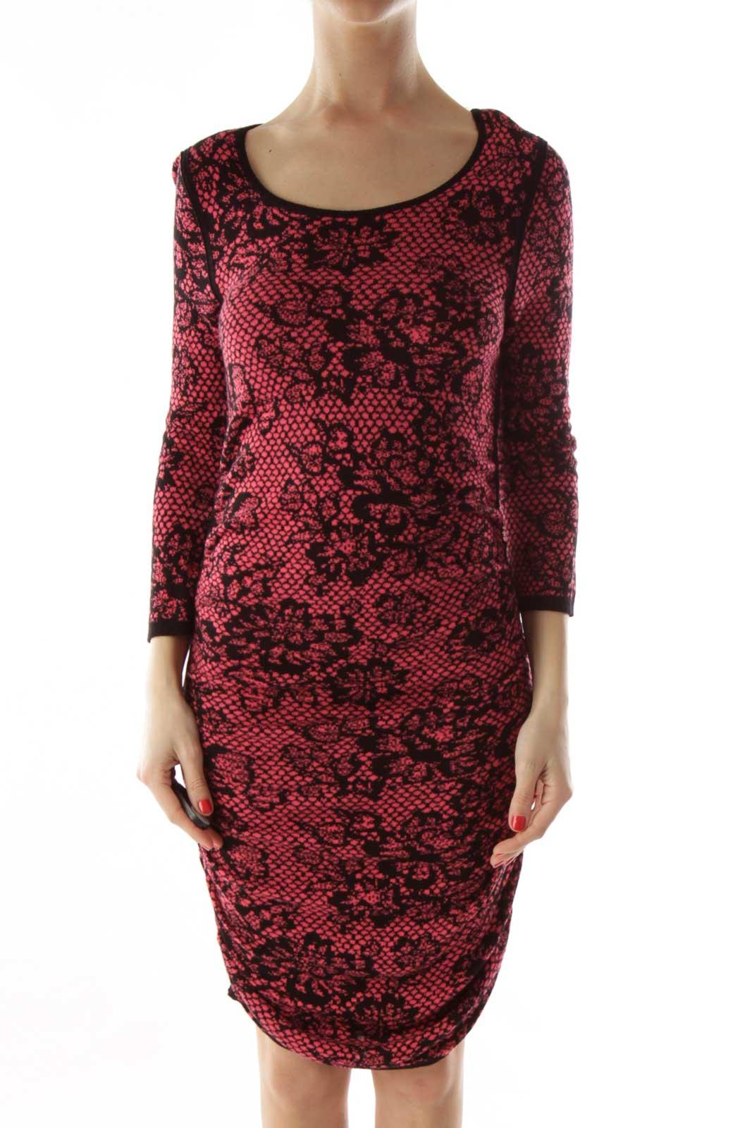 Pink & Black Bodycon Knit Dress