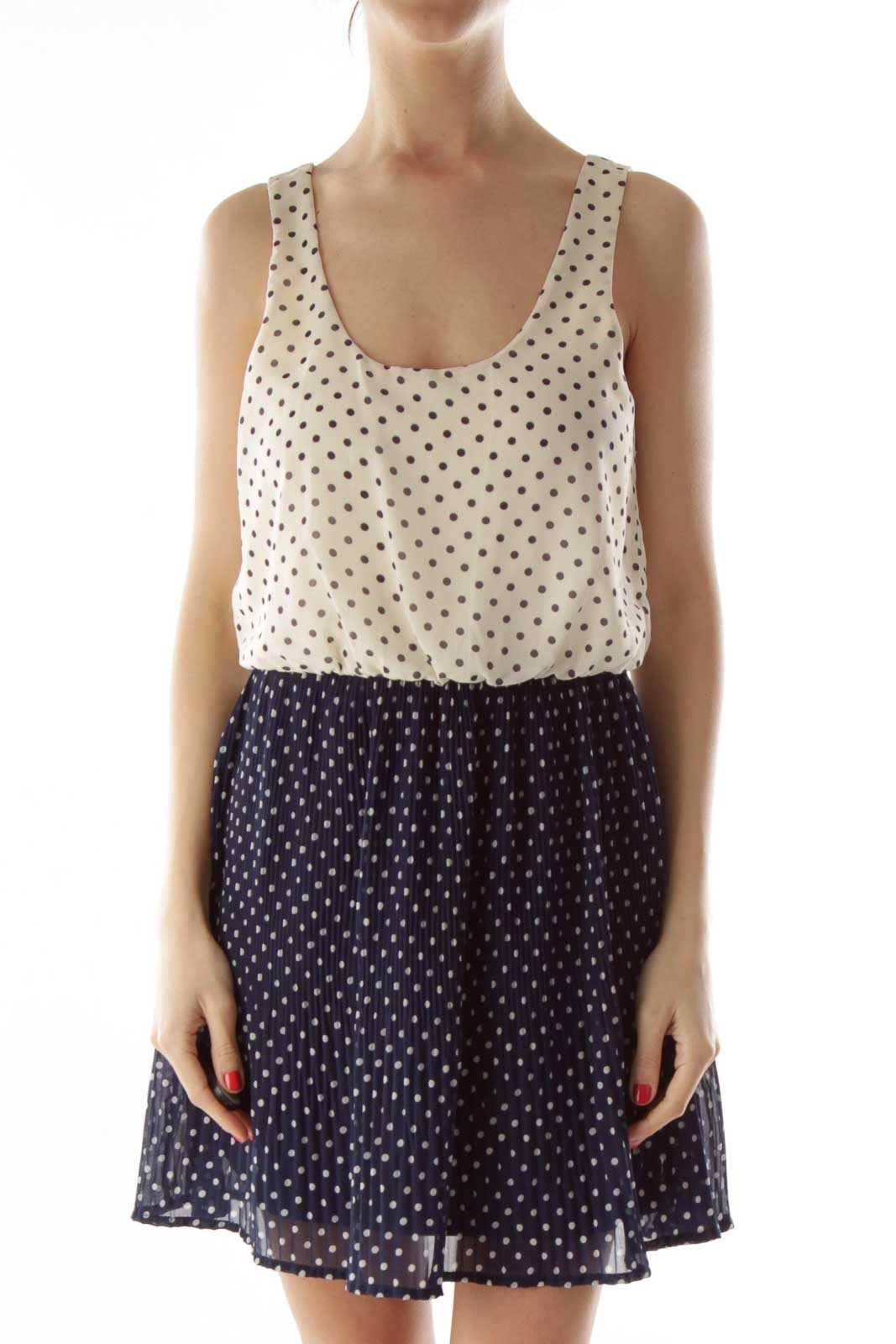 White and Navy Polka-Dot Pleated Dress