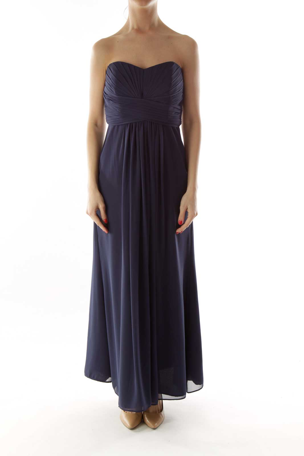 Navy Pleated Strapless Dress
