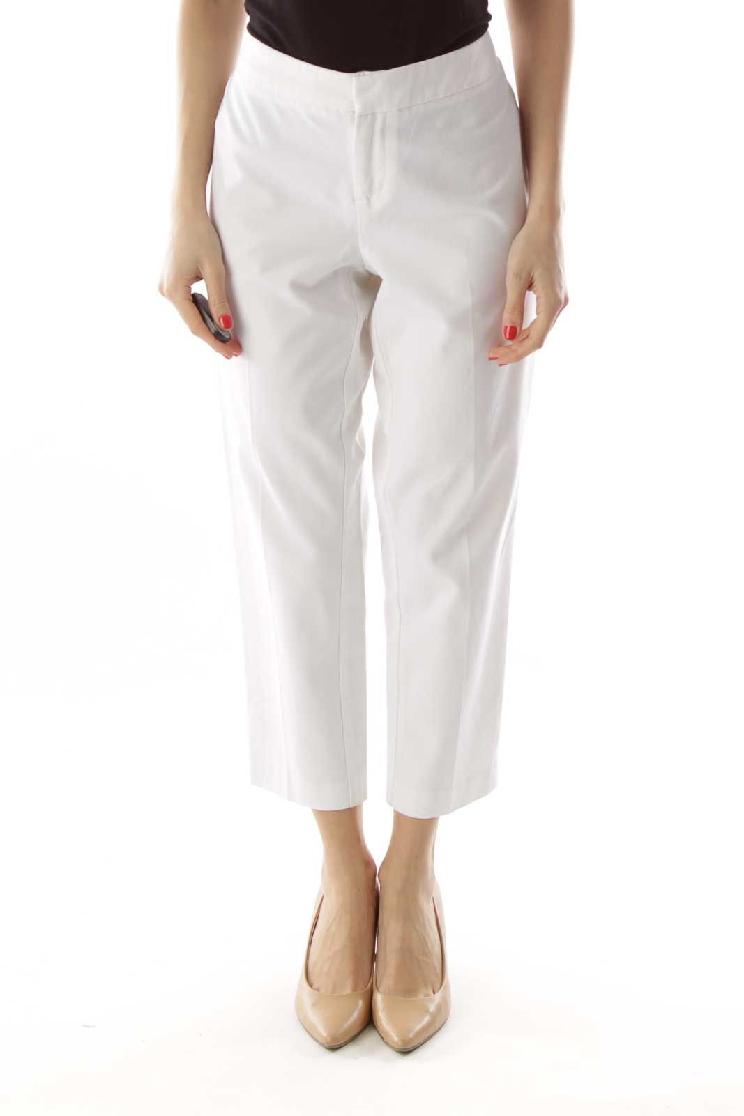 White Fitted Cropped Pants