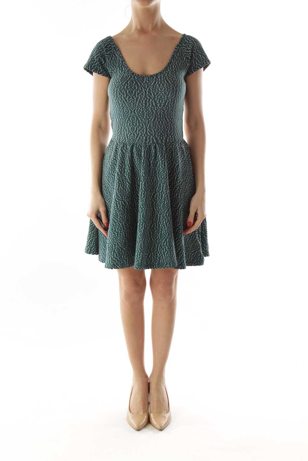 Green Textured A-Line Dress