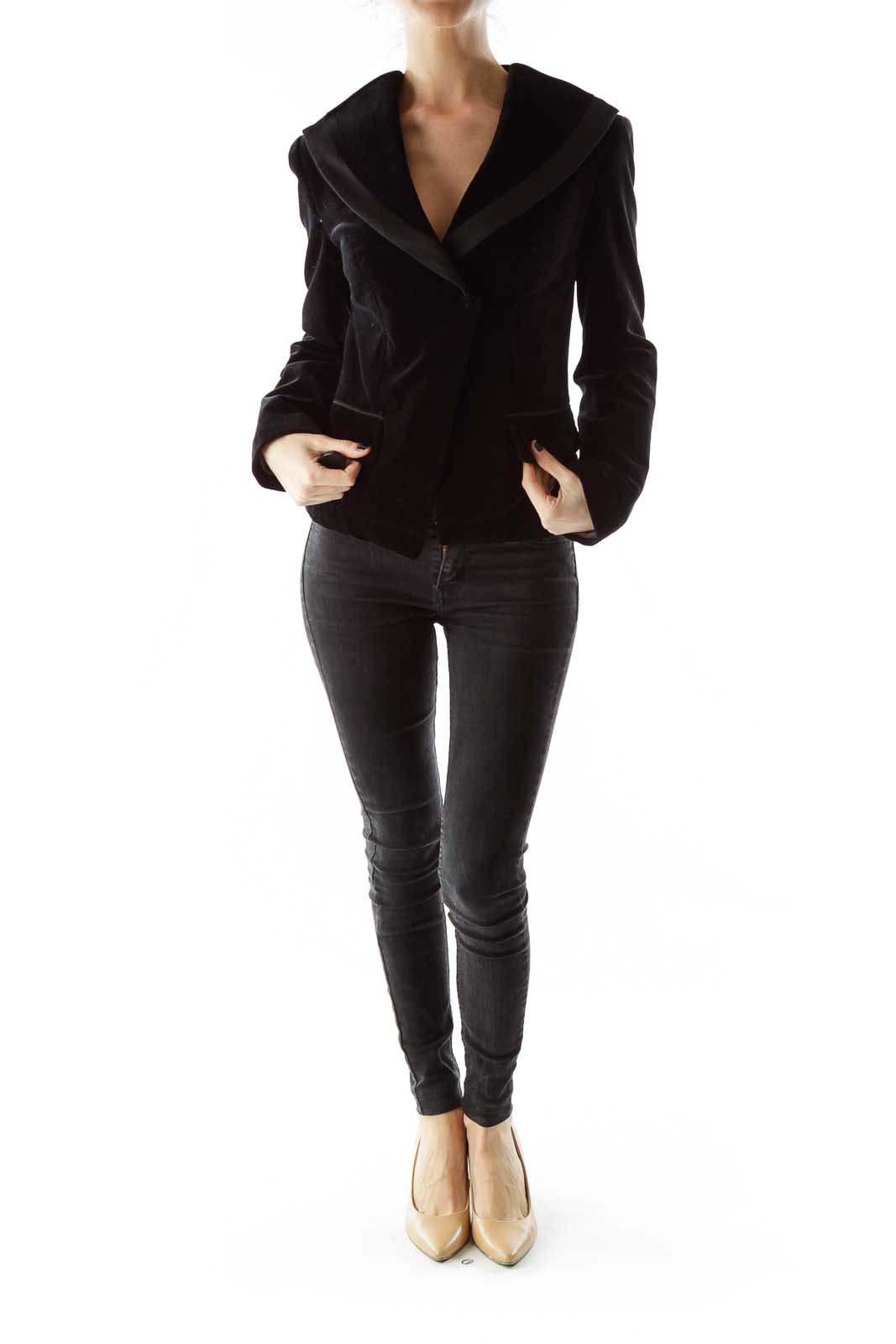 Black Velvet Pocketed Blazer