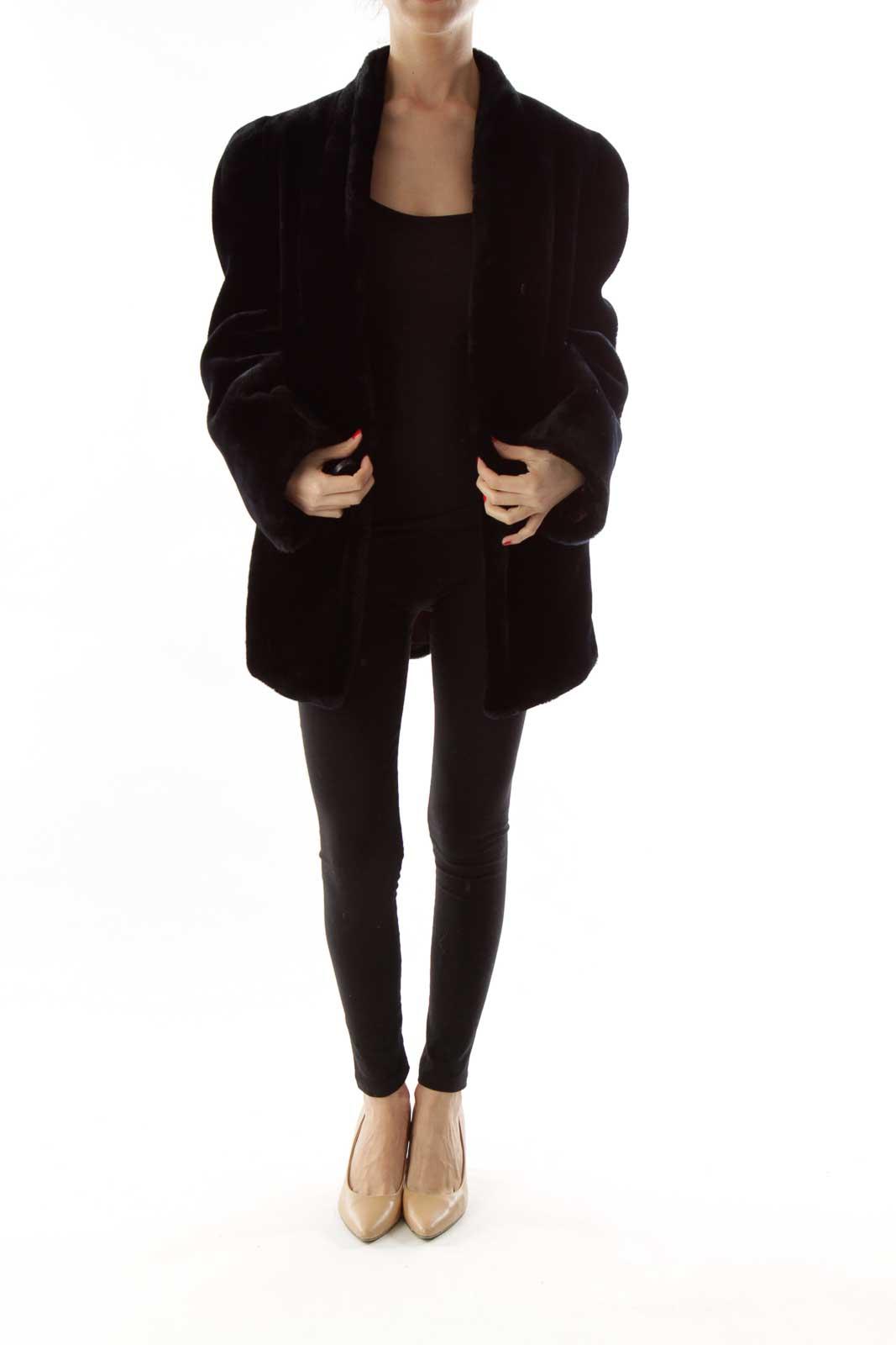 Black Vintage Faux-Fur Coat