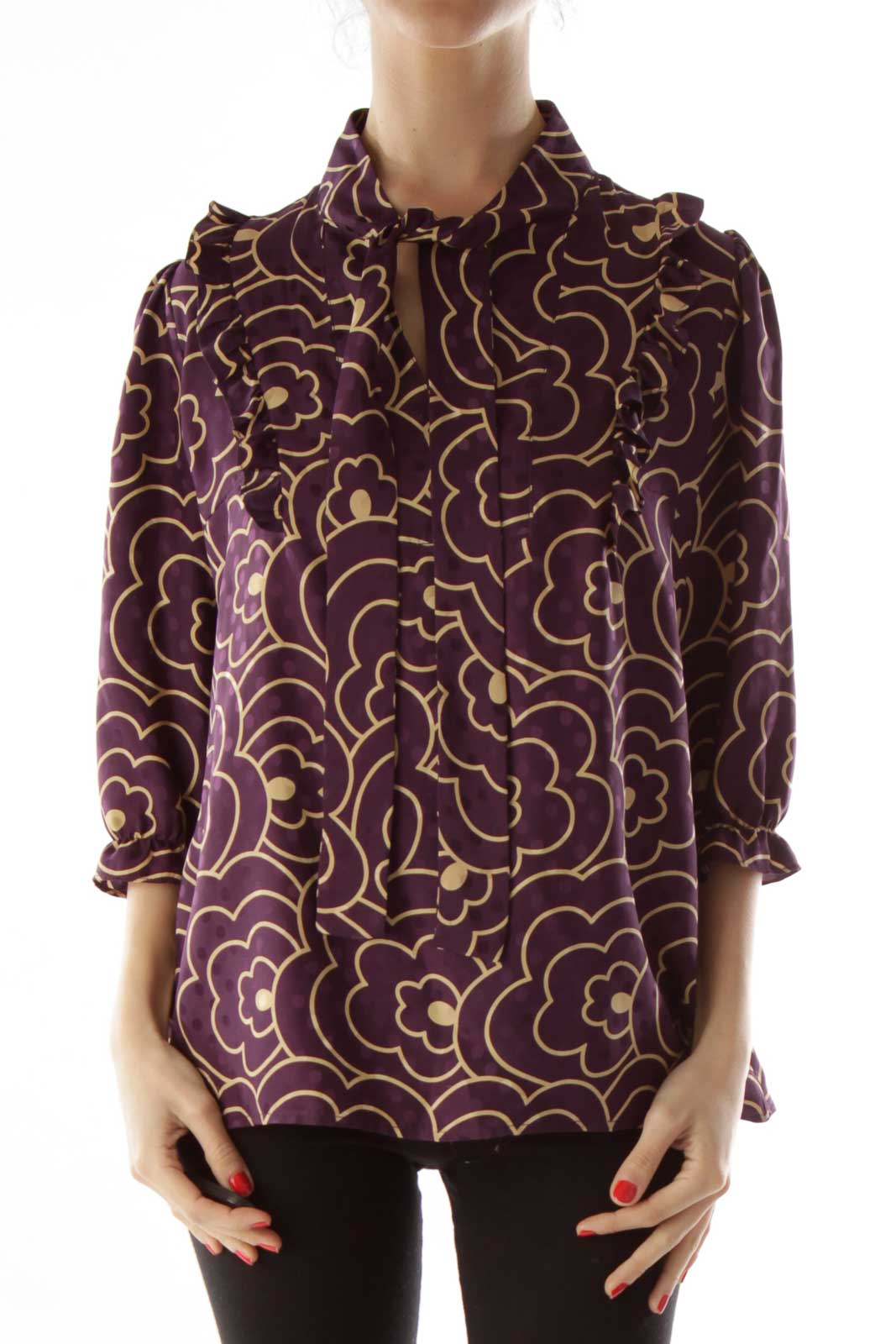 Purple Gold Silk Blouse