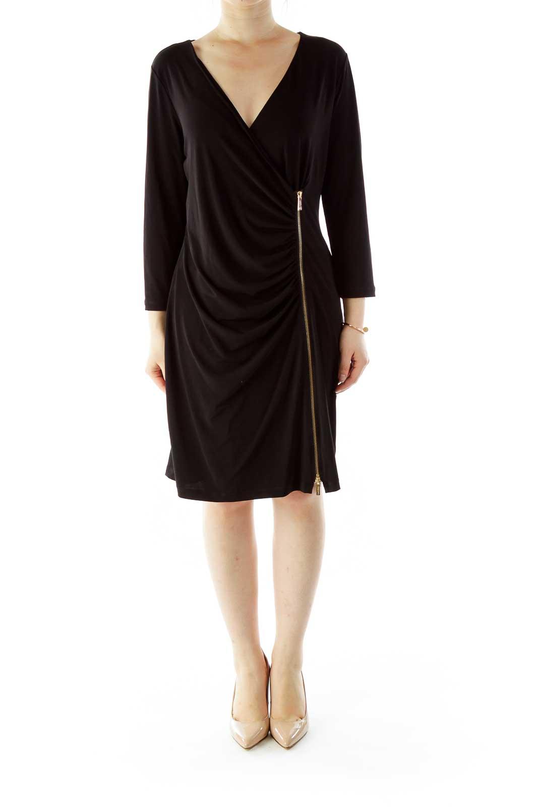 Black Zippered V-Neck Work Dress
