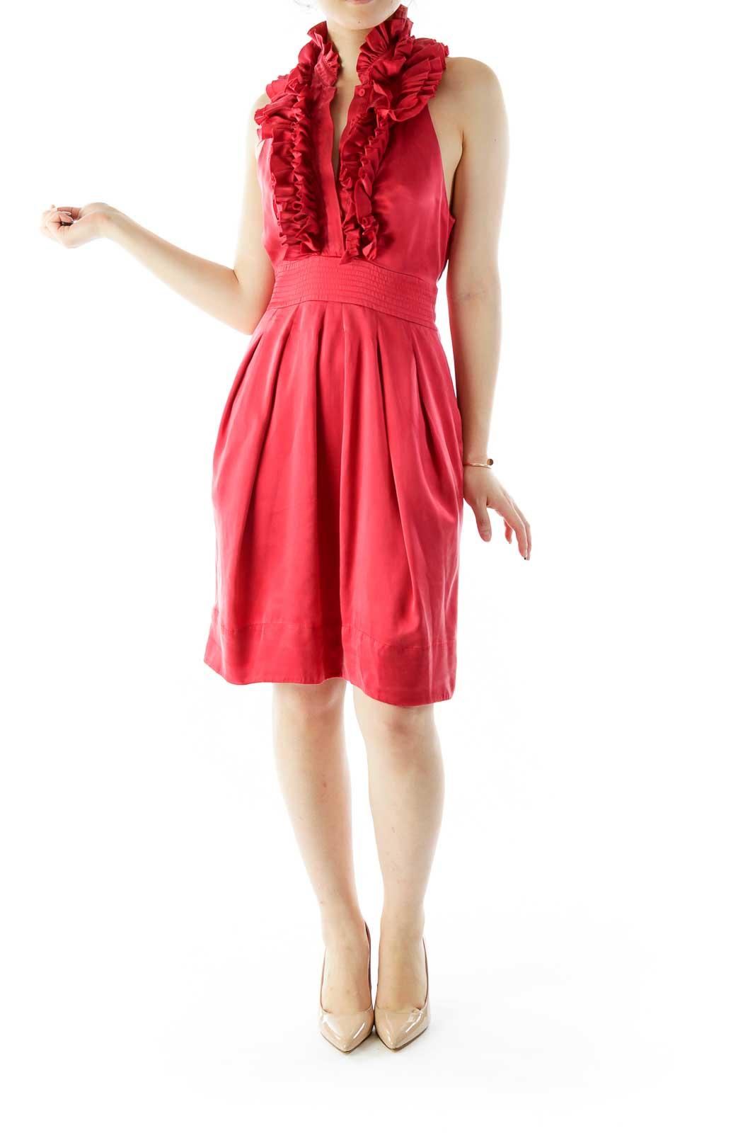 Red Ruffled Cocktail Dress