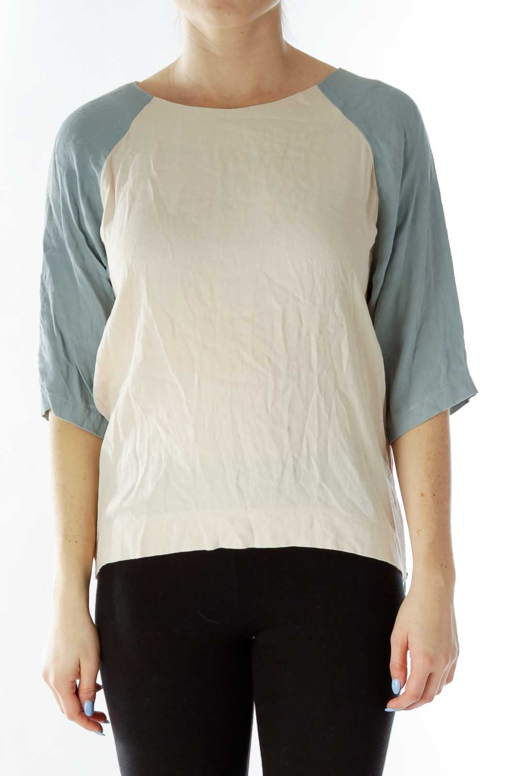 Pink Gray Color Block Blouse