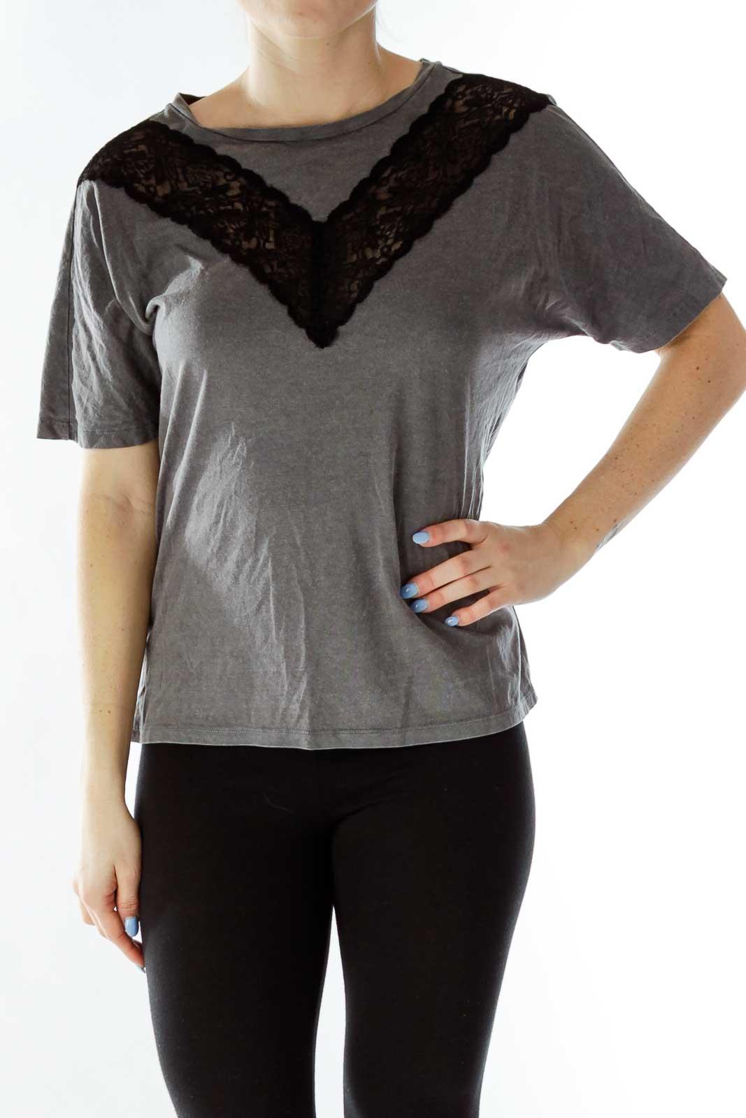 Gray Black Lace Top