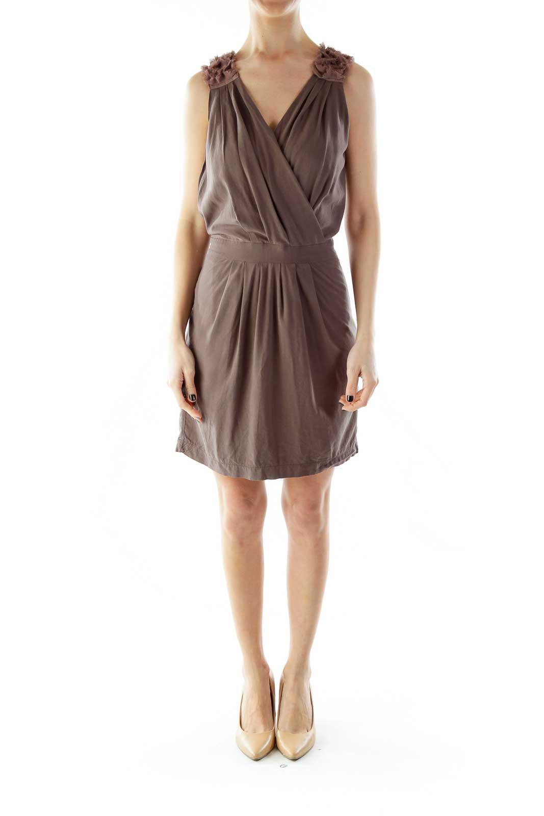 Brown Ruffled Sleeveless Dress
