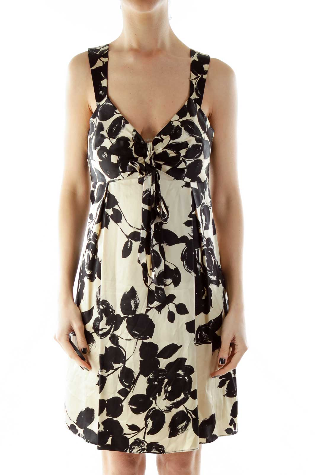 Black Beige Bow Floral Silk Dress