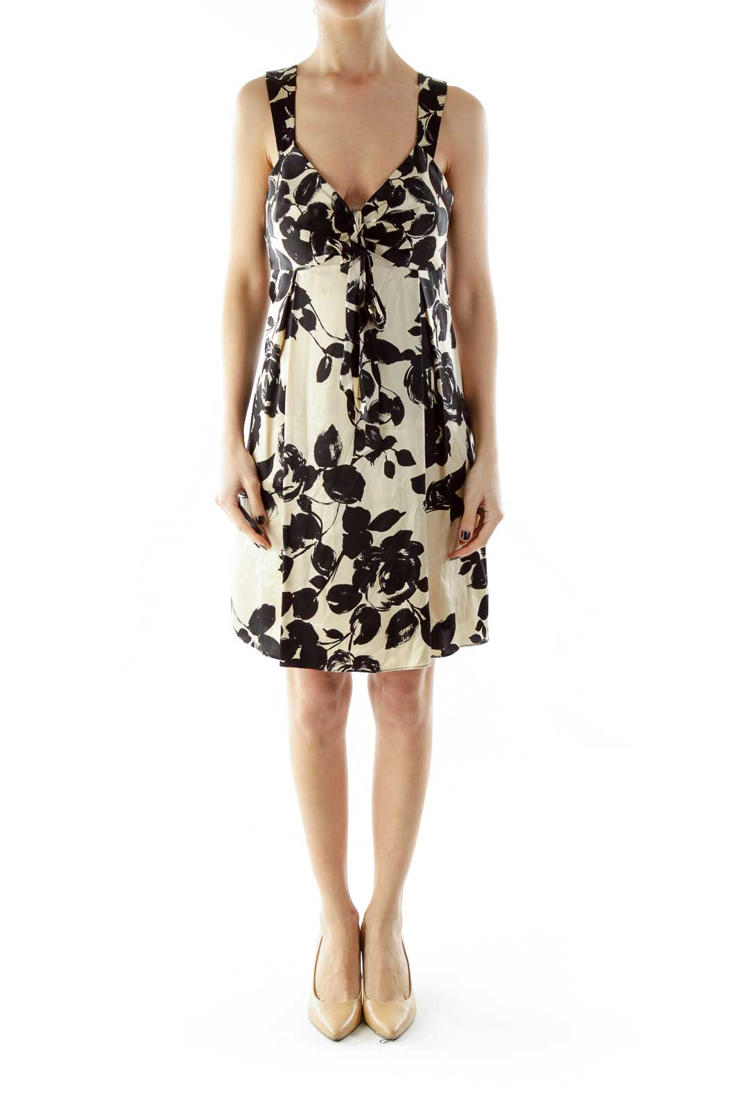 Black Beige Bow Floral Silk Dress