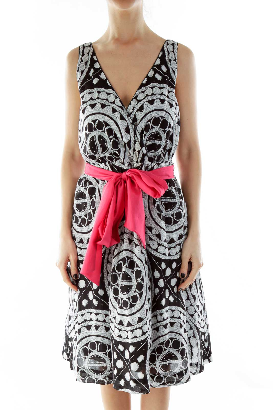 Black White Pink V-Neck Print Dress with Sash