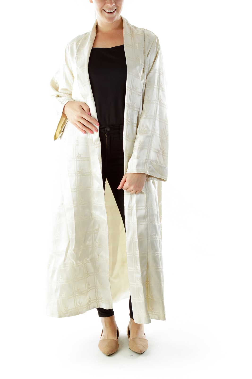 Cream Embroidered Oversized Open Coat