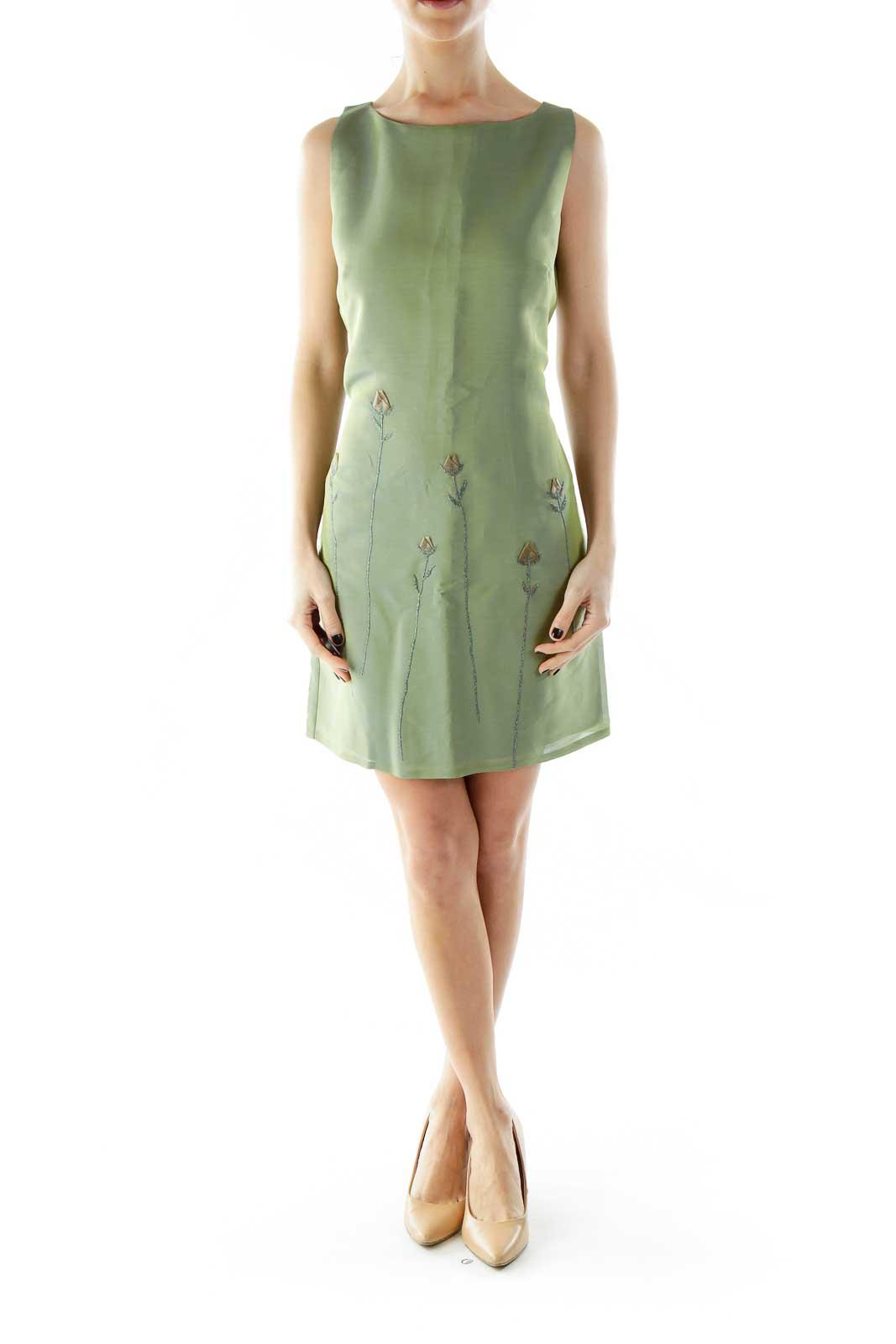 Green Embroidered Flower Sheath Dress