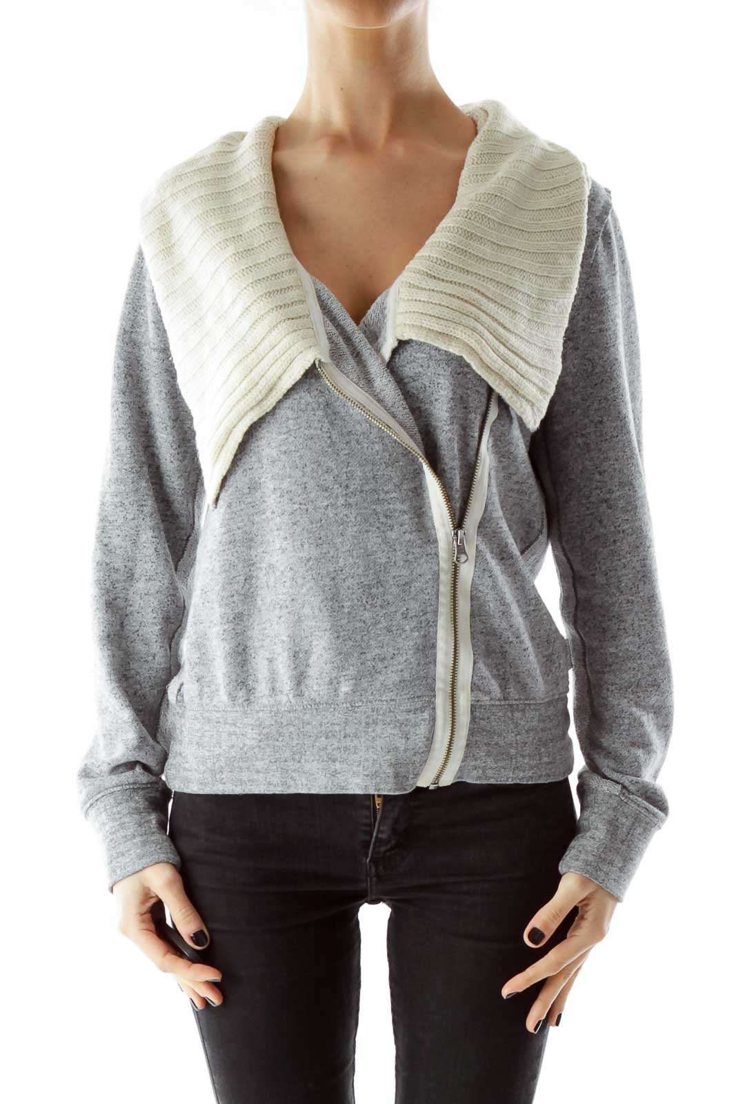 Gray Cowl Neck Fitted Jacket