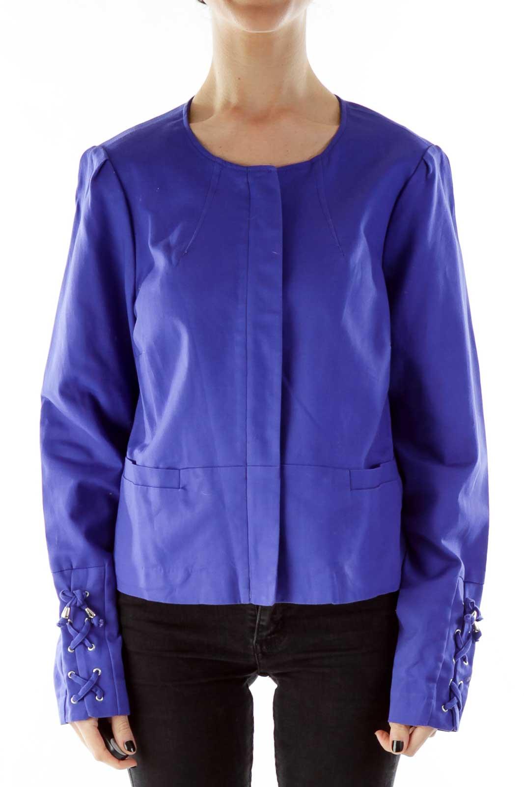 Purple Round Neck Pocketed Lace-Up Jacket