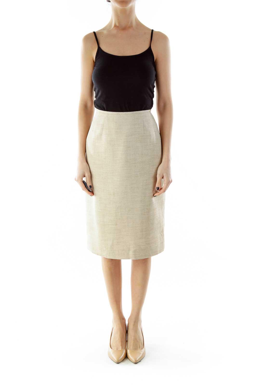 Beige Mottled Pencil Skirt