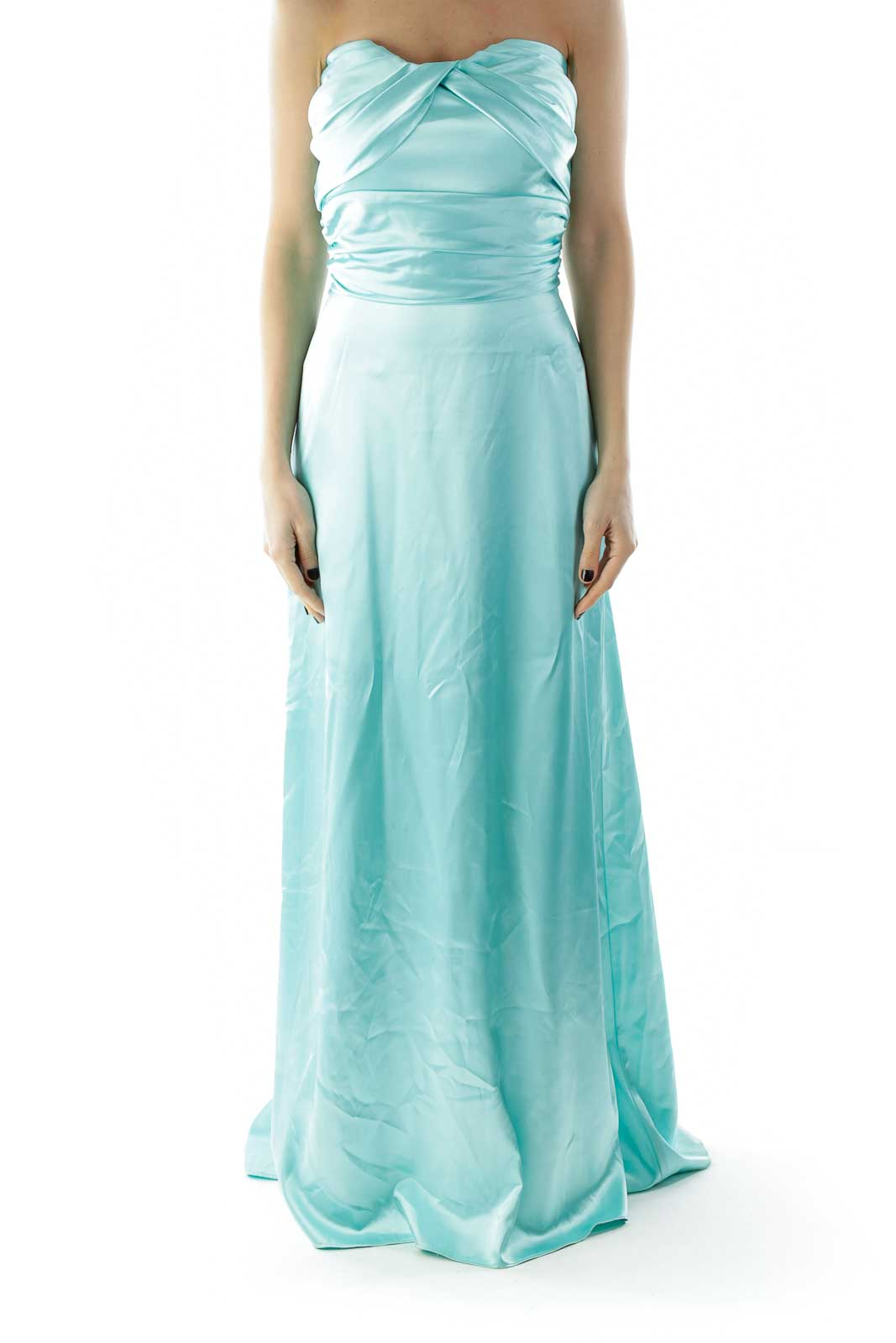 Mint Strapless Shimmer Pleated Evening Dress