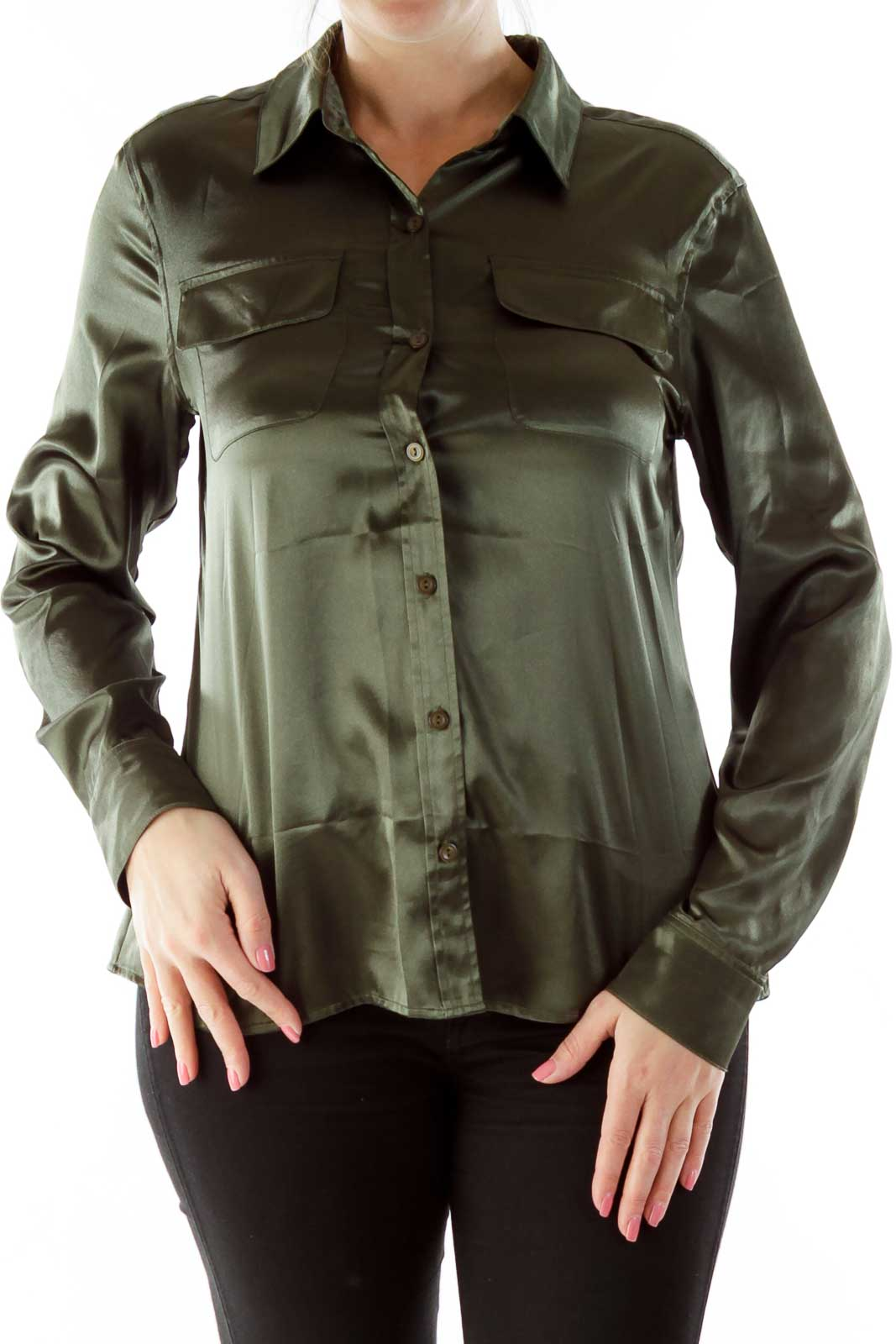Green Shimmer Pocketed Blouse
