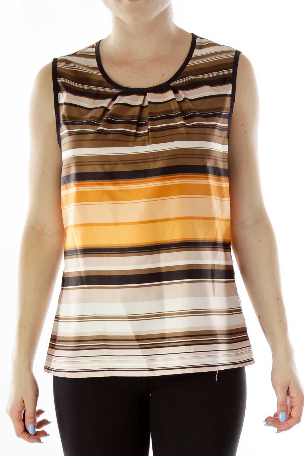 Multicolor Stripped Sleeveless Blouse