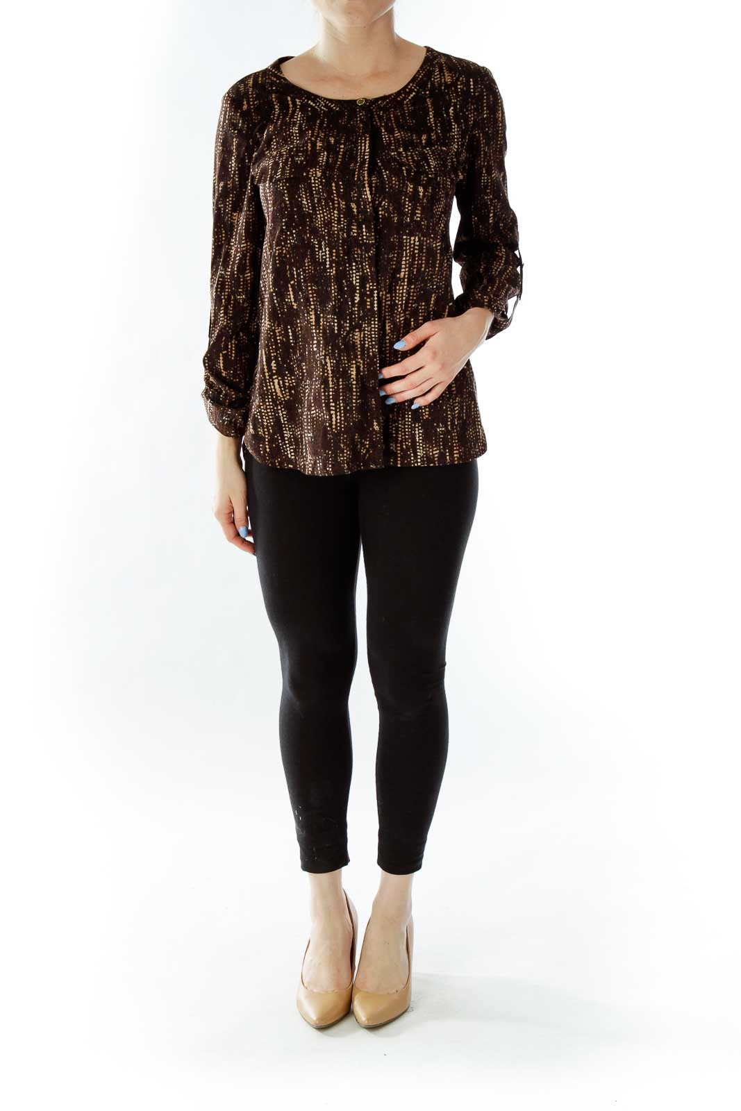 Brown Print Pocketed Blouse