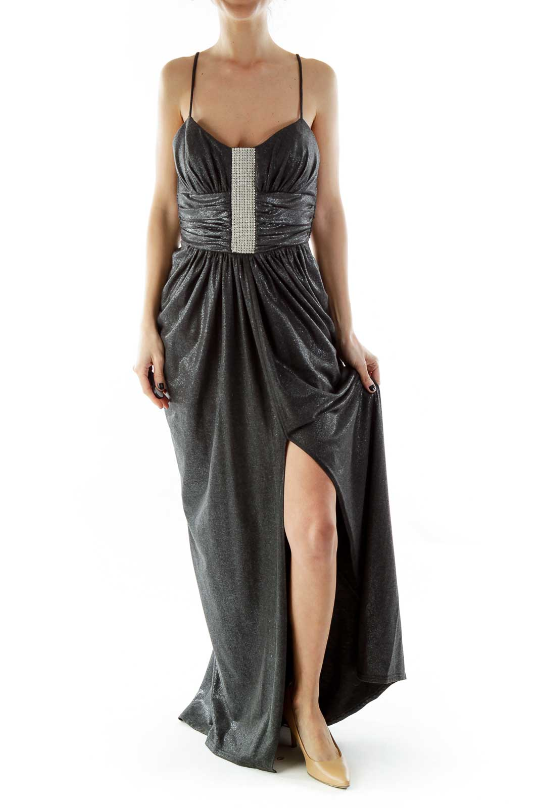 Gray Spaghetti Strap Metallic Evening Dress with Rhinestones