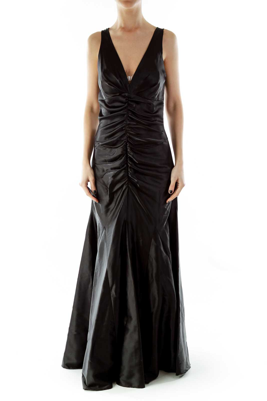 Black V-Neck Scrunched Lace Evening Dress