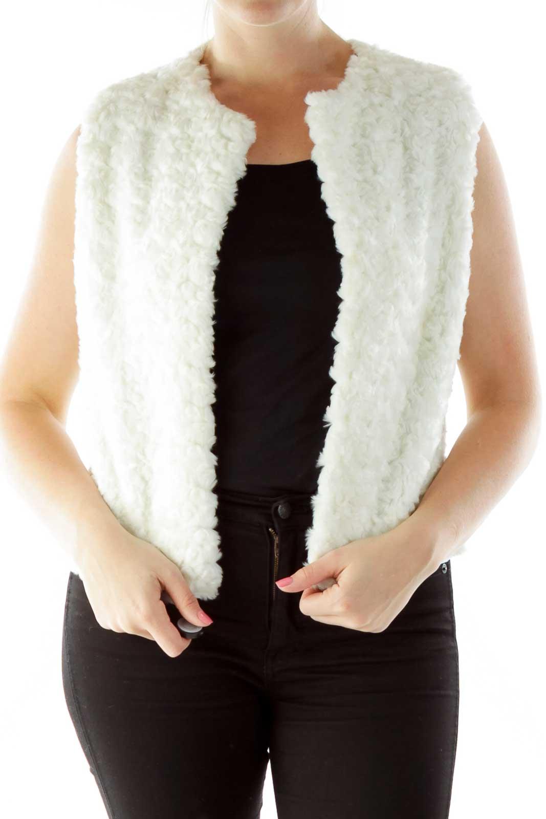 White Faux-Fur Open Vest